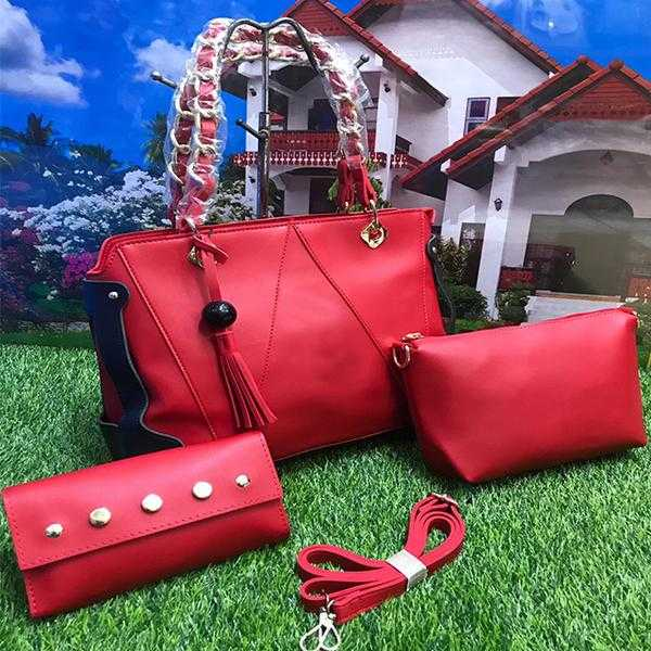 Stylish 3 Piece, Cross Body Women Hand Bag, Red | 24HOURS.PK