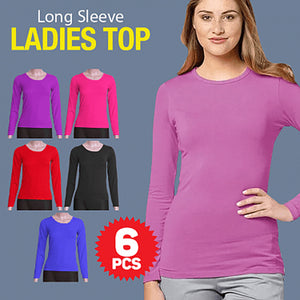 Stretchable Long Sleeve Bodycon Ladies Top 6 Pcs Set, Free Size, Multicolor | 24hours.pk