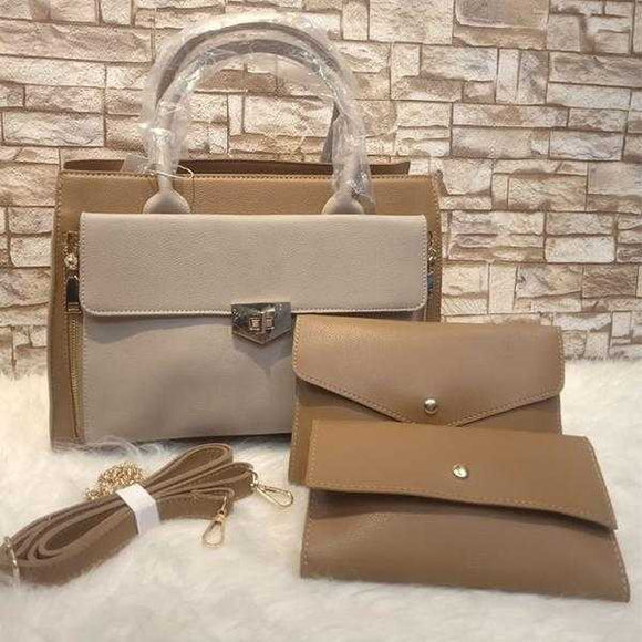 Luxury 3-Piece Women Bag Retro Style Shoulder Women Cross body Bag Coffee Color | 24HOURS.PK