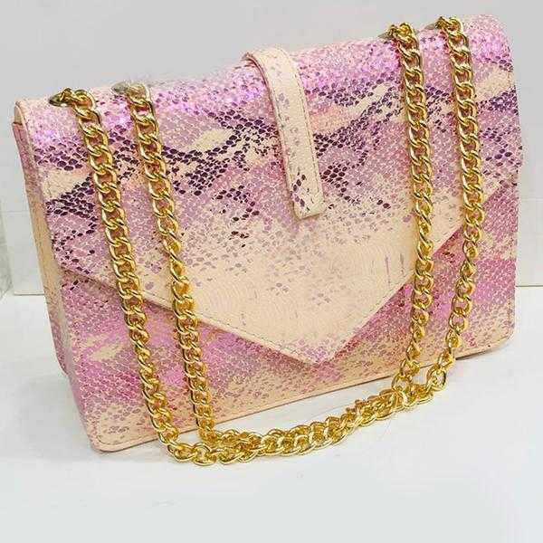 Women's Shoulder Chain Bag, Mini Square Bag, Light Pink | 24HOURS.PK