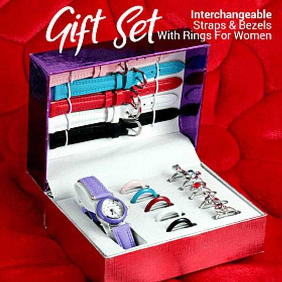 Stylish Gift Set With 16Pcs Interchangeable Straps & Bezels With Rings For Women | 24HOURS.PK