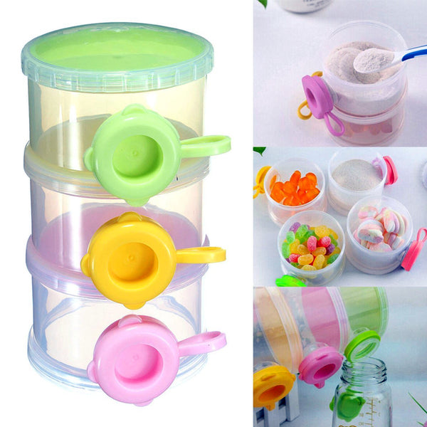Random Color 3 Layer Baby Milk Feed Powder Dispenser Container Compartment Travel Bottle Storage Box (1128) | 24HOURS.PK