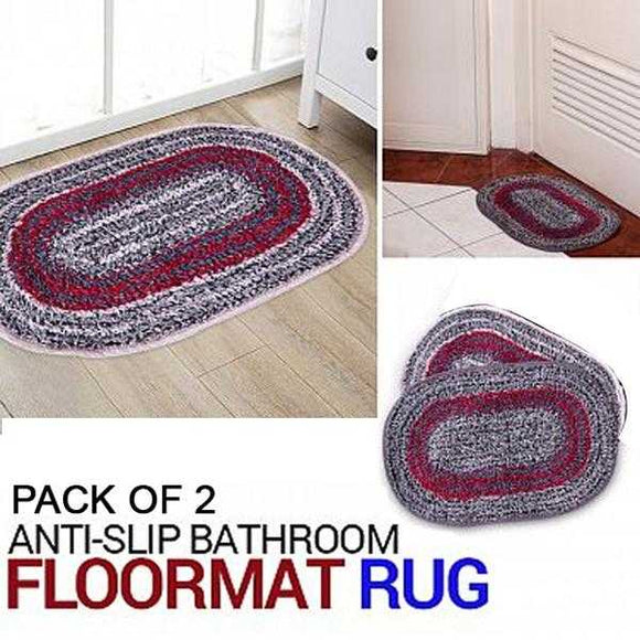 Pack Of 2, Multicolor Anti-slip Bathroom Floormat Rug | 24HOURS.PK