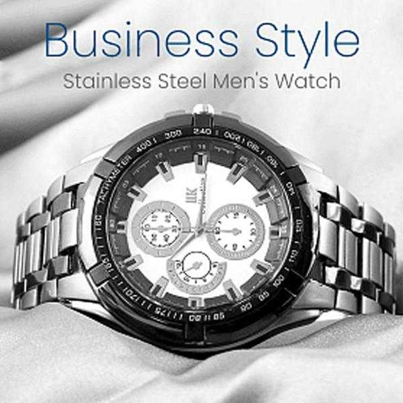 IIK Collection Stainless Steel Men's Watch, Business Style , Black White | 24HOURS.PK