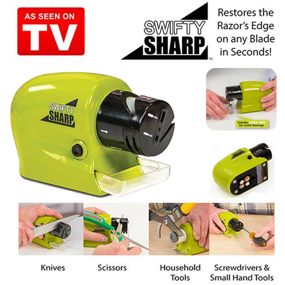 Swifty Sharp Cordless Motorized Knife & Scissor Blade Sharpener (0061) | 24hours.pk