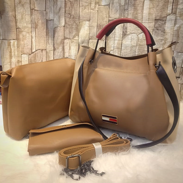 3 Piece Set Of Original Women's Leather Bag Shoulder For Cross Body in Brown | 24HOURS.PK