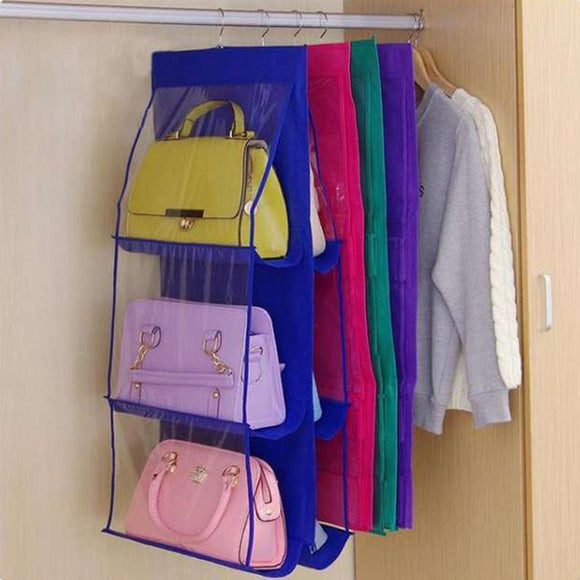 6 Pockets Hanging Purse Handbag Organizer Clear Hanging Shelf Bag | 24HOURS.PK