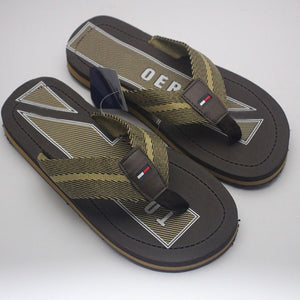 Classic Green Lines and Borders Style Slipper - Dark Brown | 24HOURS.PK