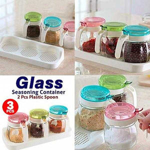 3 Pcs 300ML Glass Seasoning Container | 24hours.pk