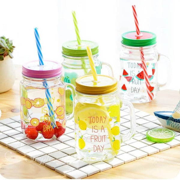 Pack of 2 Glassware Fruity Mason Jars (1118) | 24HOURS.PK