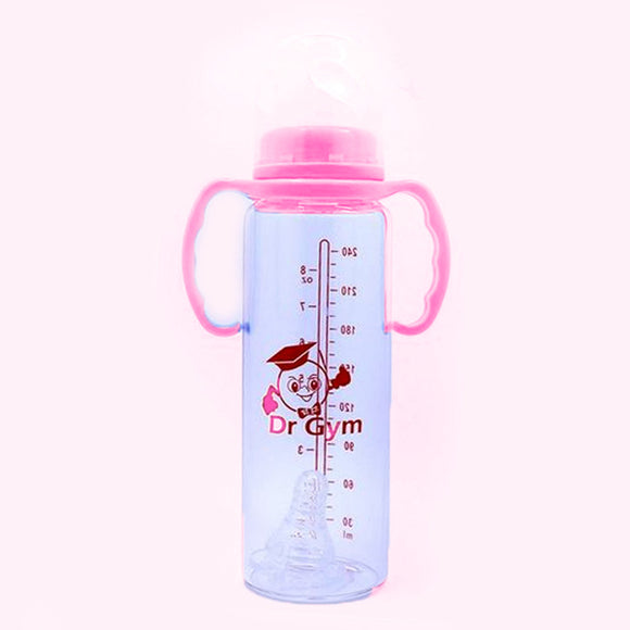 Pack of 2 Dr Gym Large Baby Feeding Bottle Transparent Pink | 24HOURS.PK