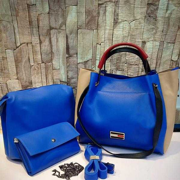 3 Piece Set Of Original Women's Leather Bag Shoulder For Cross Body in Blue | 24HOURS.PK