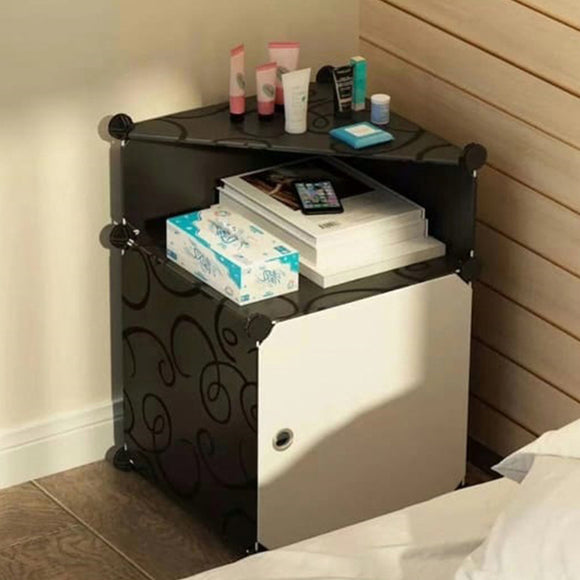 Bedside Table Triangle Black and White | 24HOURS.PK