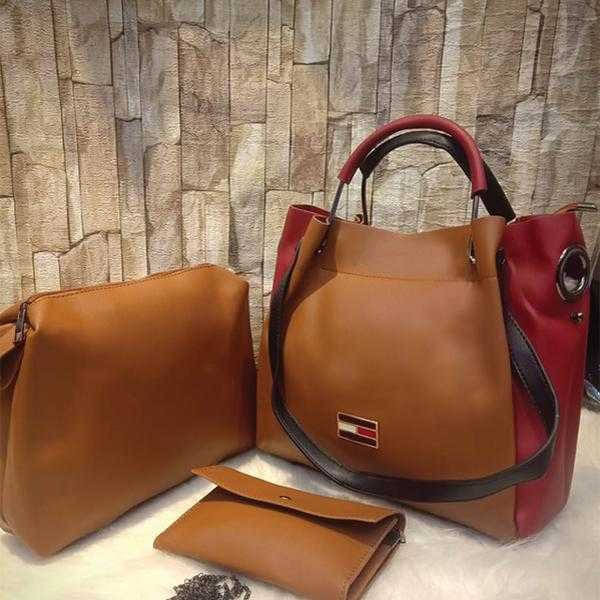 3 Piece Set Of Original Women's Leather Bag Shoulder For Cross Body in Chocolate Brown | 24HOURS.PK