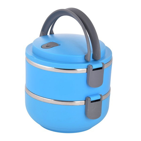 2 Layer Stainless Steel Round Lunch box | 24HOURS.PK