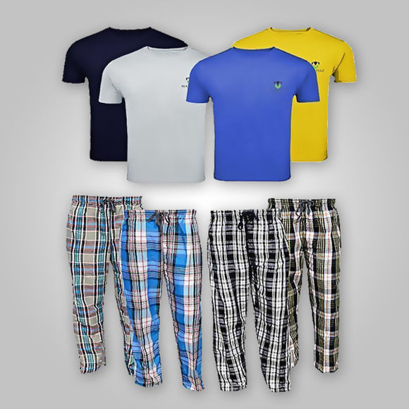 Pack of 8 T Shirt and Pajamas for Mens (0093) | 24HOURS.PK