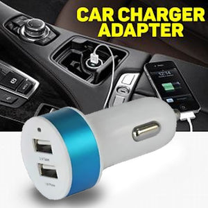 Car Charger Dual USB Port White and Blue | 24HOURS.PK