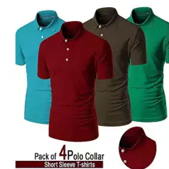 Pack of 4 Plain Polo Collar T-Shirt (1002) | 24HOURS.PK