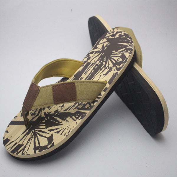 Wild Style Flip Flops For Mens 2 Strap Off-white and Dark Brown | 24HOURS.PK