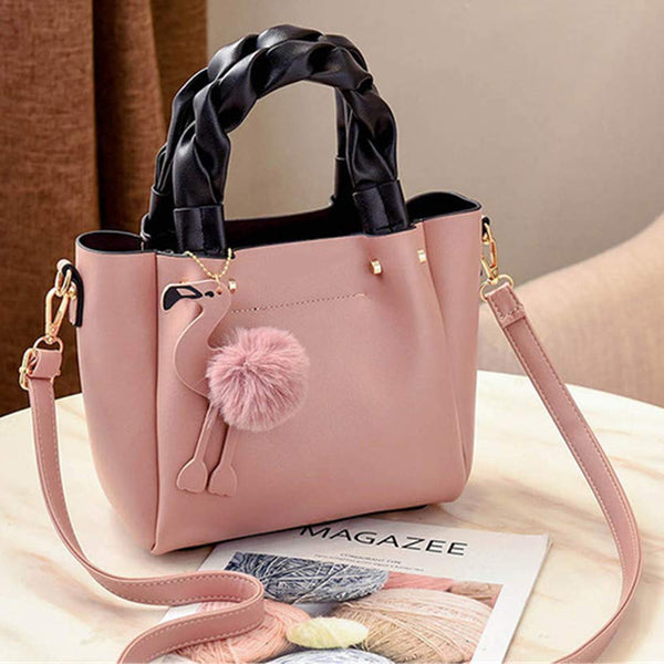 Handbag for Women Shoulder Bag Leather Fashion Hairball  Bag Pink | 24HOURS.PK