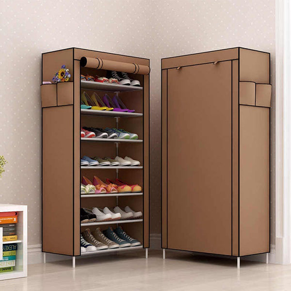Wardrobe Shoe Rack 7 Floor Brown | 24HOURS.PK