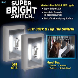 Super Bright Light Switch With Built In Lights (2 Pcs) Ucored (1005) | 24hours.pk