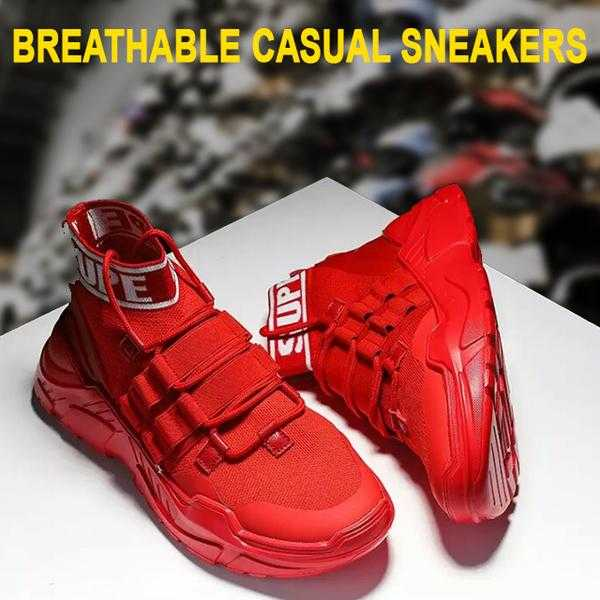 Breathable casual sneakers half spring Summer Comfortable Mesh Men Hip Hop Red | 24HOURS.PK