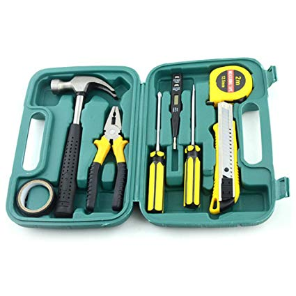 9Pcs Home Repairing Tool Set Kit Multi-functional Universal Precision Screwdriver Hammer Set Hardware Tool Kit Household Hand Tool Kit with Plastic Toolbox Storage Case (054) | 24HOURS.PK