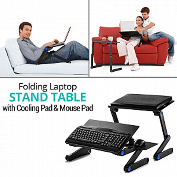 Portable Multifunctional Folding Laptop Stand Table with Cooling Pad & Mouse Pad, T8 | 24HOURS.PK
