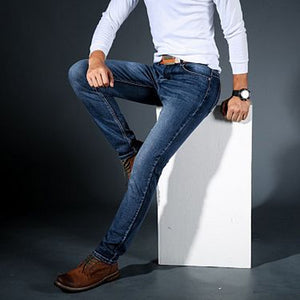 Stretch Jeans Men'S Straight Slim Style, Blue | 24HOURS.PK