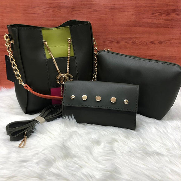 Cross Body Women Bag High Quality Casual Female Bag Black with color Contrast | 24HOURS.PK