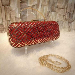 Multipurpose Iron Mesh Hollow Handbag Red+Golden | 24HOURS.PK