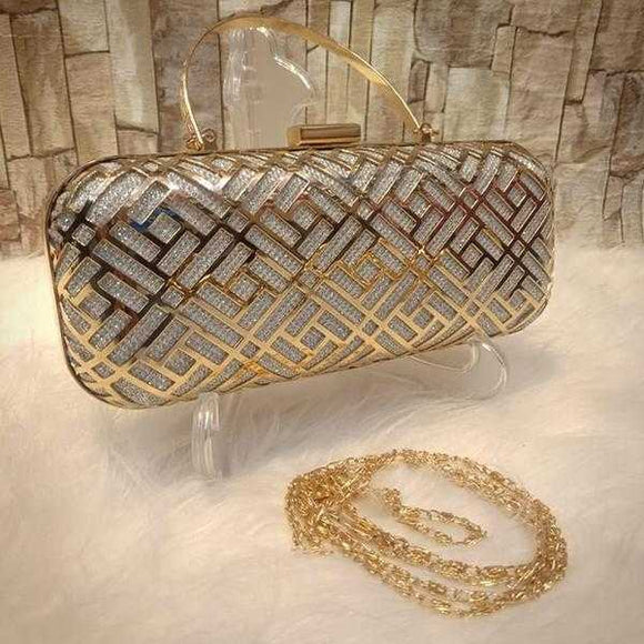 Multipurpose Iron Mesh Hollow Handbag Silver+Golden | 24HOURS.PK