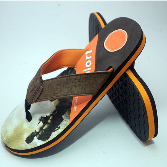 Creative Flip Flops Sliper Dark Brown and Orange | 24HOURS.PK