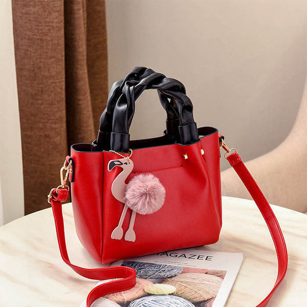 Handbag for Women Shoulder Bag Leather Fashion Hairball  Bag Red | 24HOURS.PK