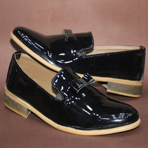 Glossy Simple Loafer Cut Shoe Design 2 Black | 24HOURS.PK