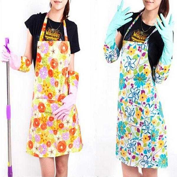 Pack of 2, Flower Printing Fashion Women Plastic Kitchen Aprons Cleaning Cooking Cheap Aprons For Woman | 24HOURS.PK