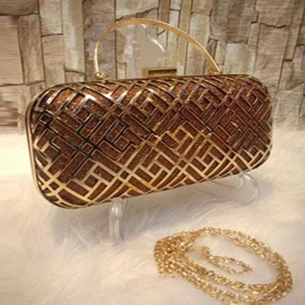 Multipurpose Iron Mesh Hollow Clutch Brown+Golden | 24HOURS.PK