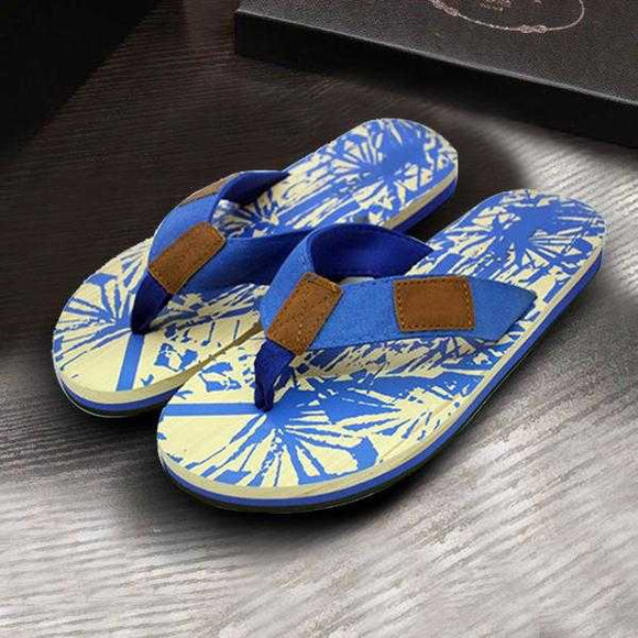 Wild Style Flip Flops For Men's 2 Strap Off-white & Blue | 24HOURS.PK