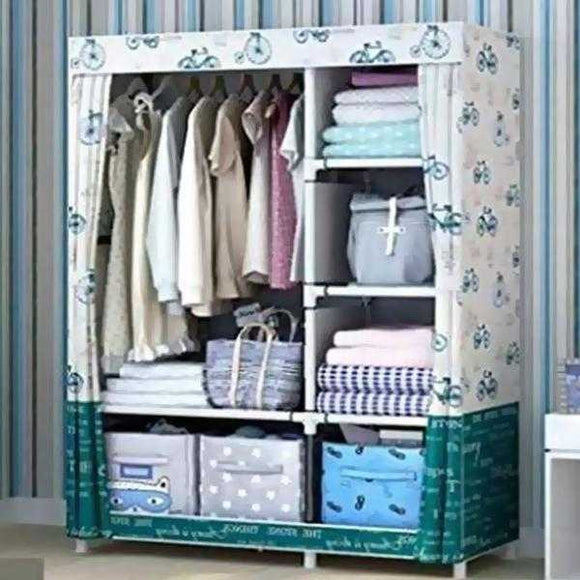 Simple Multifunction Cloth Wardrobe Storage Cabinets White and C-Green | 24HOURS.PK