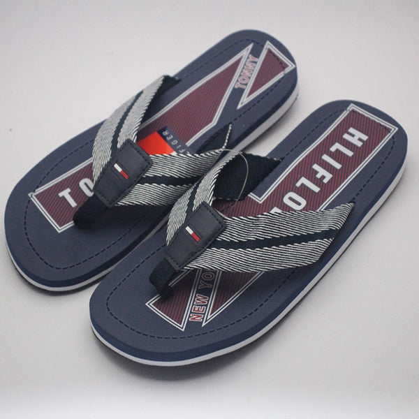 2 Strap Slipper For Mens Dark Blue and White | 24HOURS.PK