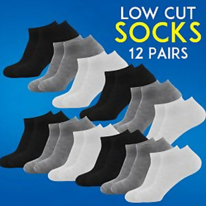Dong Fa Plain Cotton Ankle Socks For Unisex 12 Pair Set Assorted Color | 24hours.pk