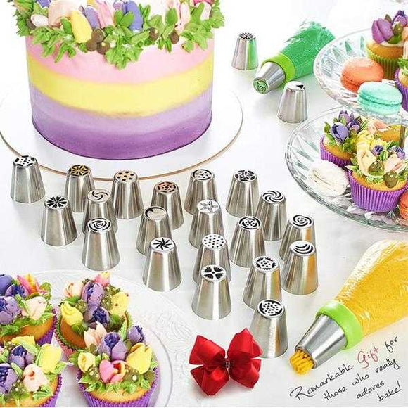 Pack of 12 Cake Decorating Supplies Baking Supplies Icing Nozzles Pastry Disposable Bags & Coupler Decoration Kit | 24HOURS.PK