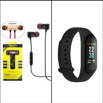 Bundle Deal - Magnetic Sports Handsfree - Stereo Earphone/Earbud + M3I Band | 24HOURS.PK