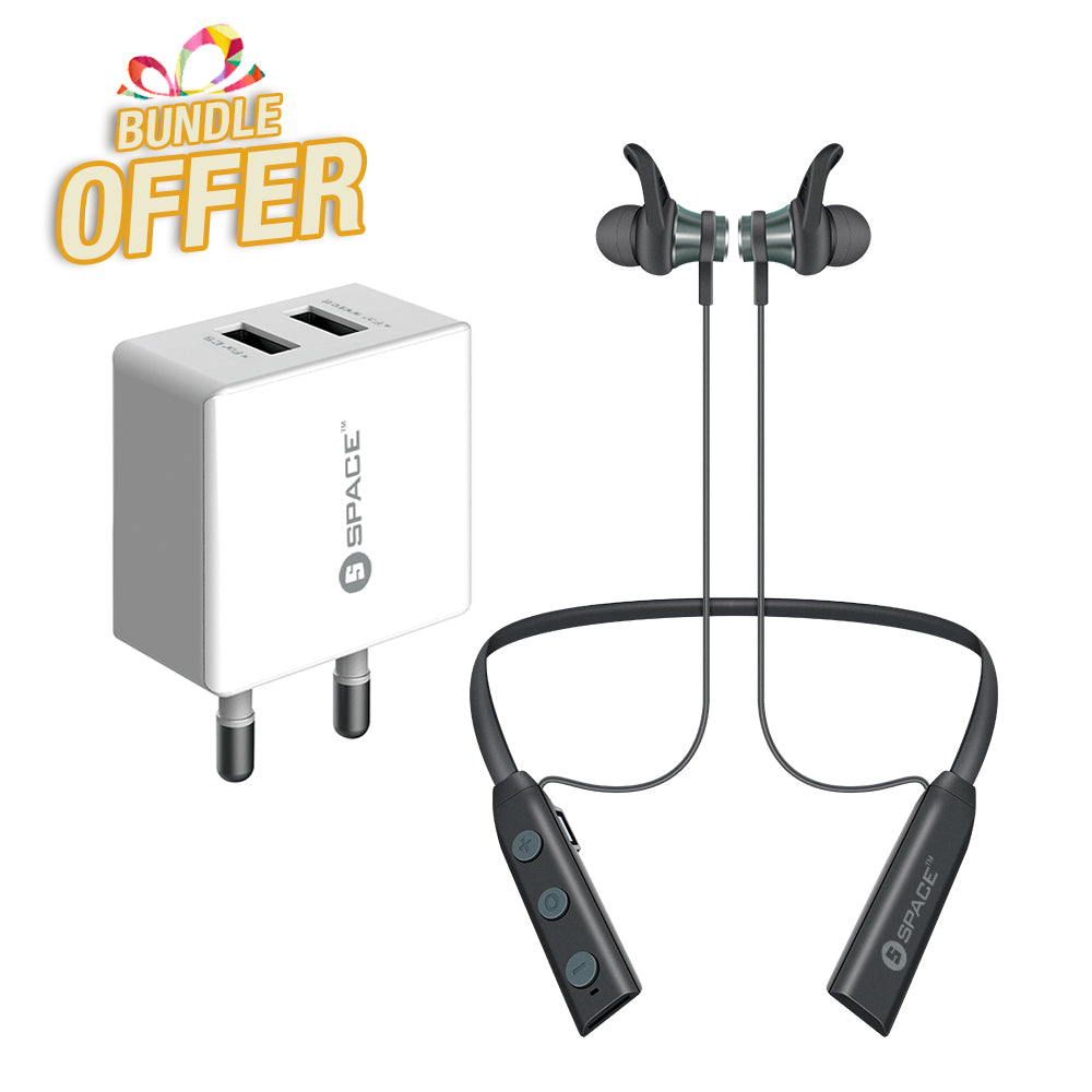 SPACE Move Wireless Neckband Earphones + Dual Port USB 2.4A Wall Charger (w Micro USB Cable) MV-691 + WC-101