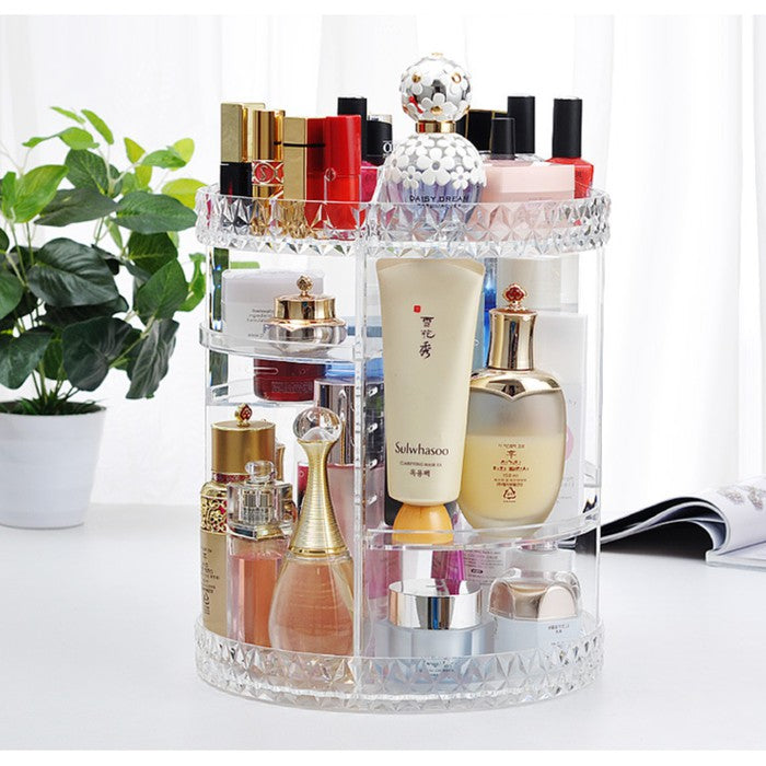 Cosmetic Makeup Organizer Rack Rotate Cosmetic Rotate Acrylic Rotate Make Up Transparent Diamond Motif 360 | 24hours.pk
