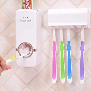 Pack of 2 Toothpaste Dispenser with Wall Mount Tooth Brush Holder | 24HOURS.PK