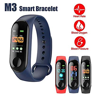 M3 Smart Sports Bracelet Fitness Band with Heart Rate Monitor Bluetooth Waterproof Pedometer For Android & iOS, Black | 24HOURS.PK