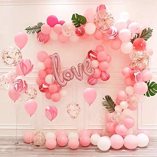43 Pcs Set Glittery Heart Garland Sign Valentine's Day Party Decorations Wedding Party,Engagement Party Home Decor Balloons Random Design & Colors 55221 | 24hours.pk