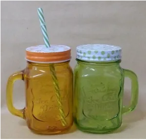 Pack Of 2, High Quality 16 Oz Drinking Mason Jar/ Mason Glass Bottle/ Glassware | 24hours.pk